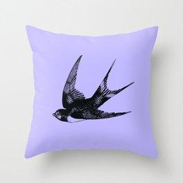 Swallow on Blue Throw Pillow