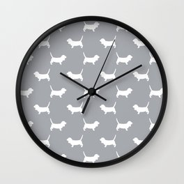 Basset Hound silhouette grey and white dog art dog breed pattern simple minimal Wall Clock