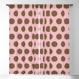 Pink and Brown Polka Dots 471 Blackout Curtain
