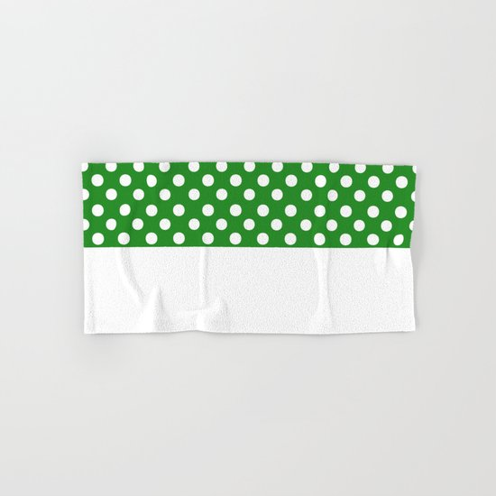 Polka Dots (White/Forest Green) Hand & Bath Towel