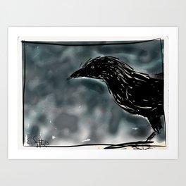 Crow on a Quiet Night in December. Art Print