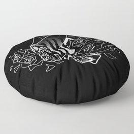 Skull 'n' Roses (NightmareNetty-Black&White) Floor Pillow
