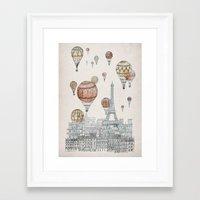 paris Framed Art Prints featuring Voyages Over Paris by David Fleck