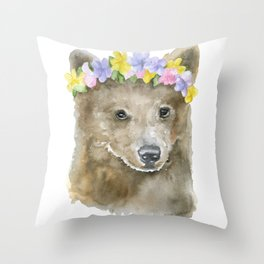 Brown Bear Floral Watercolor Throw Pillow