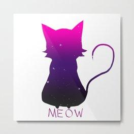 Galaxy Cat Meow Metal Print