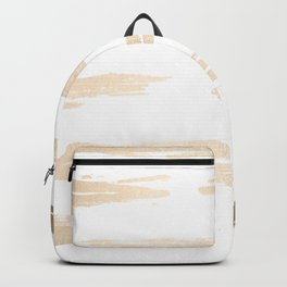 Simply Brushed Stripe White Gold Sands on White Backpack