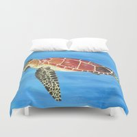 sea turtle Duvet Covers featuring Sea Turtle by Always Add Color