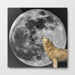 Wolf howls at the Moon Metal Print