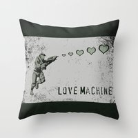 master chief Throw Pillows featuring Love Machine - Master Chief - Halo by Canis Picta