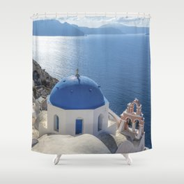 Santorini Island with churches and sea view in Greece Shower Curtain