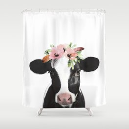 Cow with flower crown Shower Curtain
