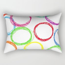 Seamless pattern background with colored circles of pastel crayon Rectangular Pillow