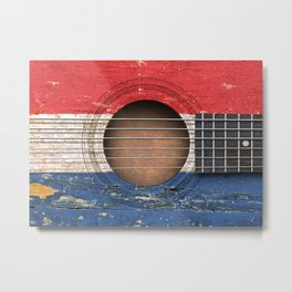 Old Vintage Acoustic Guitar with Dutch Flag Metal Print