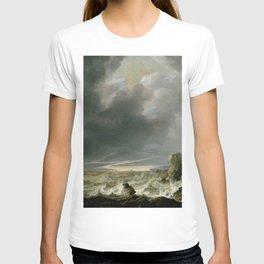 """Simon de Vlieger """"Ship in Distress off a Rocky Coast"""" T-shirt"""