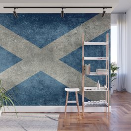 Flag of Scotland in grungy textures Wall Mural