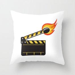 Clapper Board Match Stick On Fire Retro Throw Pillow