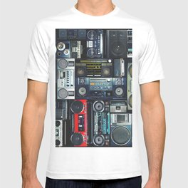 Vintage wall full of radio boombox of the 80s T-shirt