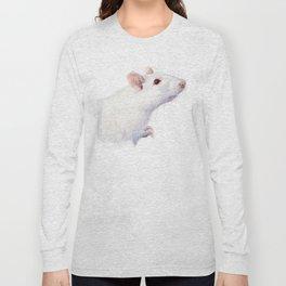 White Rat Watercolor Albino Rat Animal Long Sleeve T-shirt