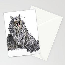 Long Haired Yawning Cat Illustration Stationery Cards