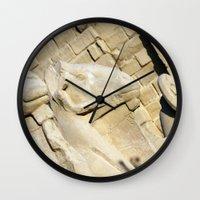 guardians Wall Clocks featuring Temple Guardians by Brian Raggatt