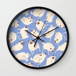Peppy Pugs - blue Wall Clock