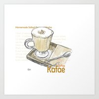 cafe Art Prints featuring Cafe by Indraart
