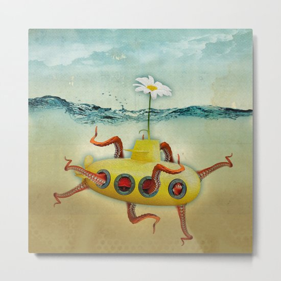 yellow submarine in an octapuses garden Metal Print
