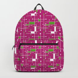 Modern Intersecting Lines in Pink, Lime and White Backpack