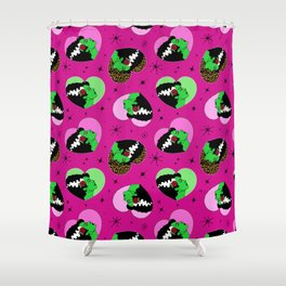 Bride of Frankie Hearts in Lipstick Pink Shower Curtain