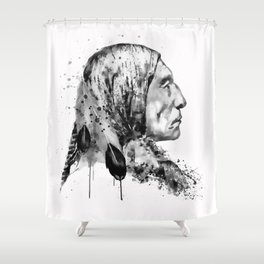 Native American Side Face Black and White Shower Curtain