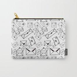 Snail Mail: Sketchy Black & White Stationery Illustrative Pattern Carry-All Pouch