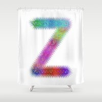 dragonball z Shower Curtains featuring Letter Z by David Zydd
