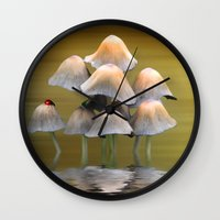 mushrooms Wall Clocks featuring Mushrooms by Shalisa Photography