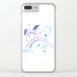 Watercolor Over the Rainbow Unicorn Clear iPhone Case