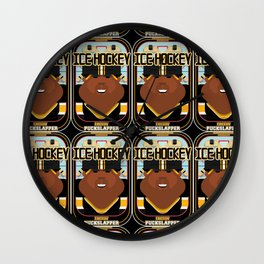 Ice Hockey Black and Yellow - Faceov Puckslapper - Hayes version Wall Clock