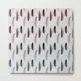 Boho Rainbow Feather Chalk Metal Print