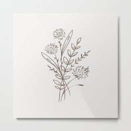 6-204-4, Cream & Mocha Brown, Floral Botanical art, Wild flower,   Plant Leaves, Boho decor, Metal Print