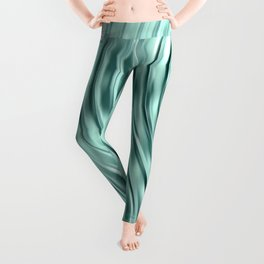 Modern Abstract Shiny Waves Glass Optical Illusion,Reflective Light, Ocean Teal Leggings