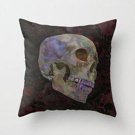 Gothic Skull Art Print | Halloween Home Décor Watercolor Skull Illustration - Dark Earth Brown Red Throw Pillow