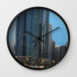 Chicago Skyline, Skyscrapers, Sunset Wall Clock