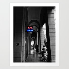 Bar Tabacchi in Bologna Black and White Color Splash Photography Art Print