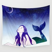 siren Wall Tapestries featuring Starry Siren by Stevyn Llewellyn