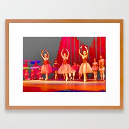 Three Ballerinas in Red Framed Art Print