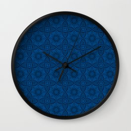 Lapis Blue Flowers and Hearts Wall Clock