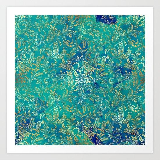 Blue Gold Swirls Art Print