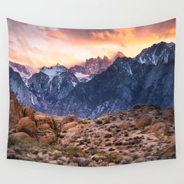 Mount Whitney and Alabama Hills Sunset Wall Tapestry