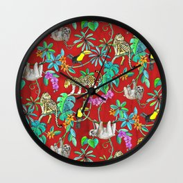 Rainforest Friends - watercolor animals on textured red Wall Clock