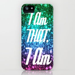 I AM THAT I AM Affirmation Galaxy Sparkle Stars iPhone Case