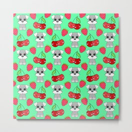 Cute little happy grey little baby Schnauzer puppies, yummy red sweet summer strawberries and funny Kawaii cherries light pastel green fruity pattern design. Metal Print