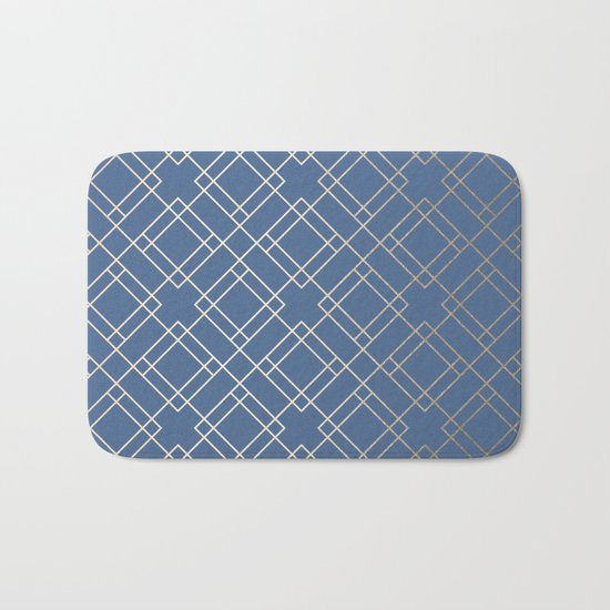 Simply Mid-Century in White Gold Sands on Aegean Blue Bath Mat